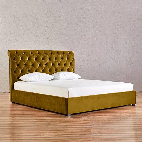 Kelist Bed Double Plush Velvet Mustard - Double