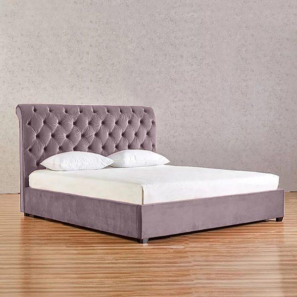 Kelist Bed King Plush Velvet Pink - King Size