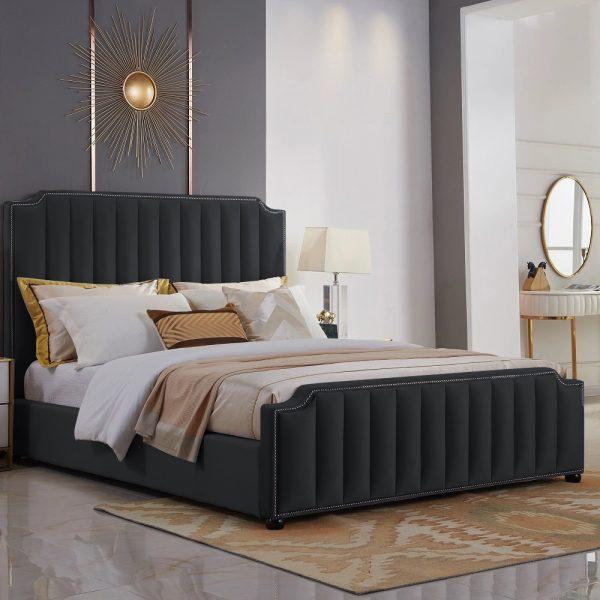 Klara Bed Single Plush Velvet Black - Single