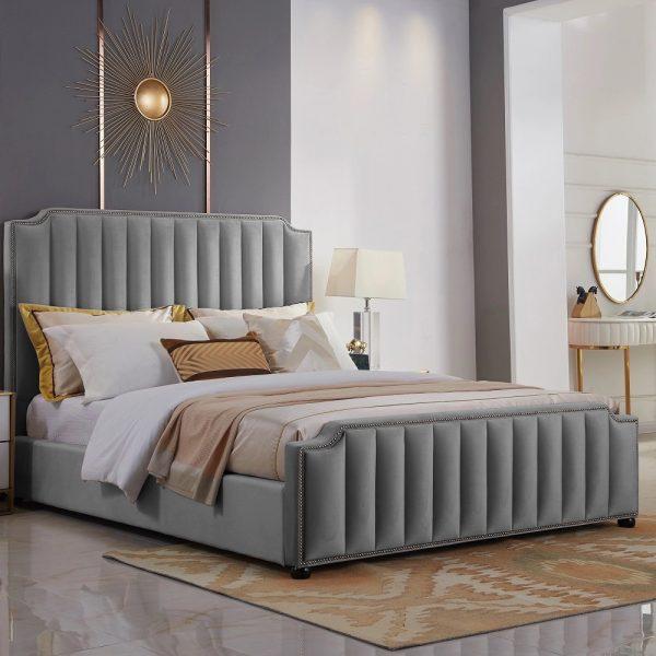 Klara Bed Small Double Plush Velvet Grey - Small Double
