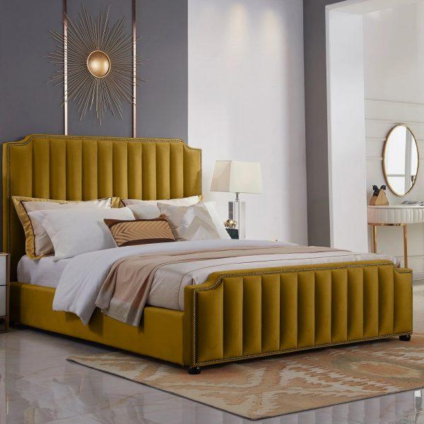Klara Bed Single Plush Velvet Mustard - Single