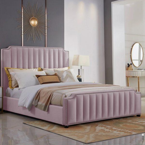 Klara Bed Double Plush Velvet Pink - Double