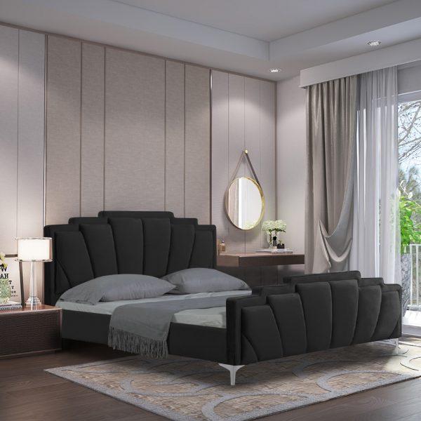 Lanna Bed Double Plush Velvet Black - Double