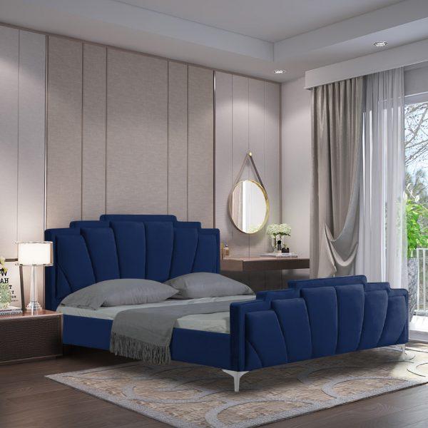 Lanna Bed Single Plush Velvet Blue - Single