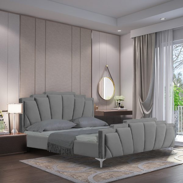 Lanna Bed Small Double Plush Velvet Grey - Small Double