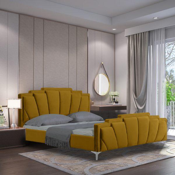 Lanna Bed Super King Plush Velvet Mustard - Super King