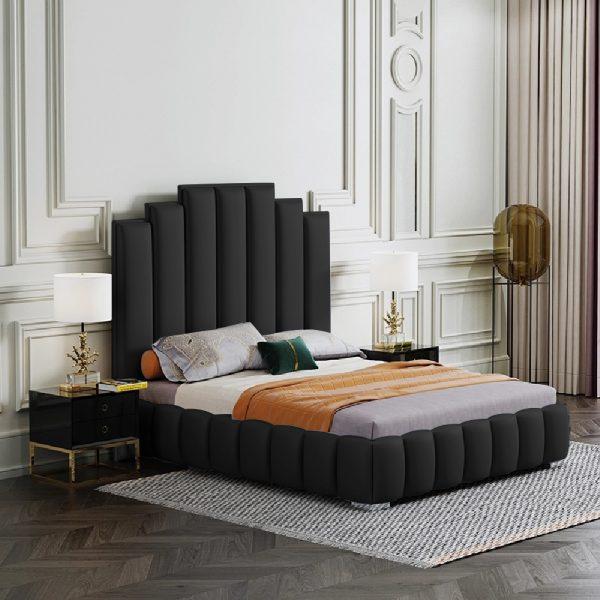 Leisa Bed Small Double Plush Velvet Black - Small Double