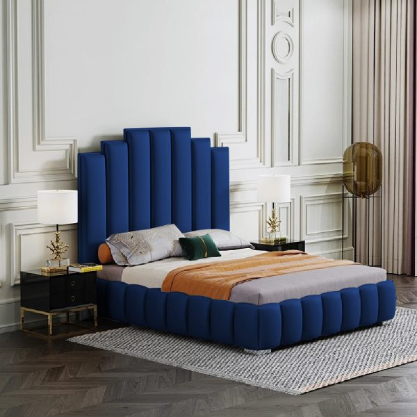 Leisa Bed Small Double Plush Velvet Blue - Small Double