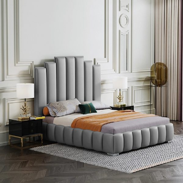 Leisa Bed Small Double Plush Velvet Grey - Small Double
