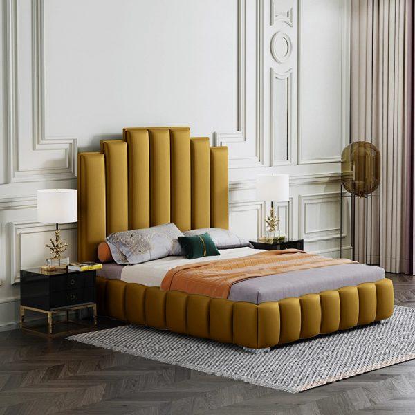 Leisa Bed Single Plush Velvet Mustard - Single