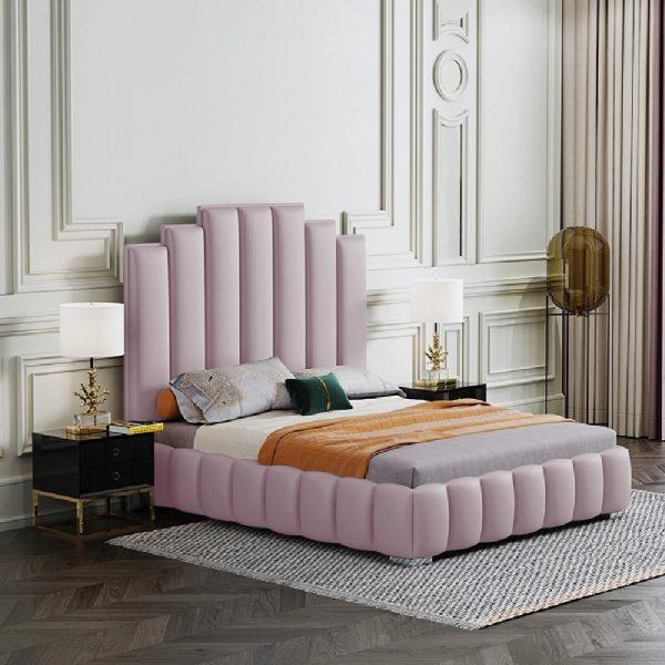 Leisa Bed Super King Plush Velvet Pink - Super King