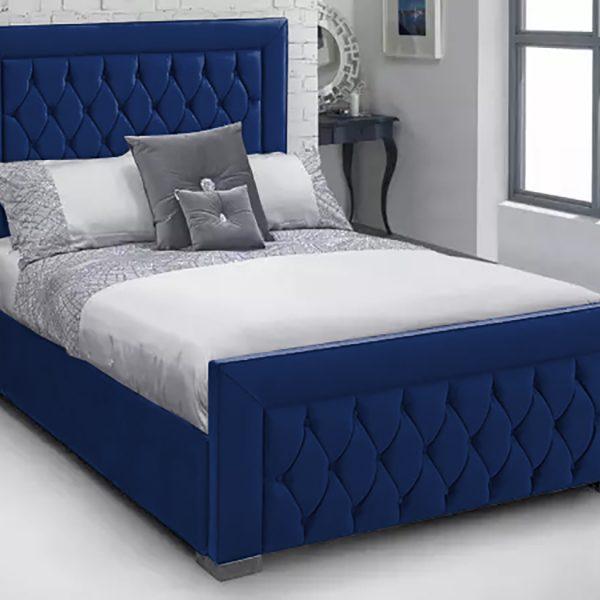 Lioti Bed King Plush Velvet Blue - King Size