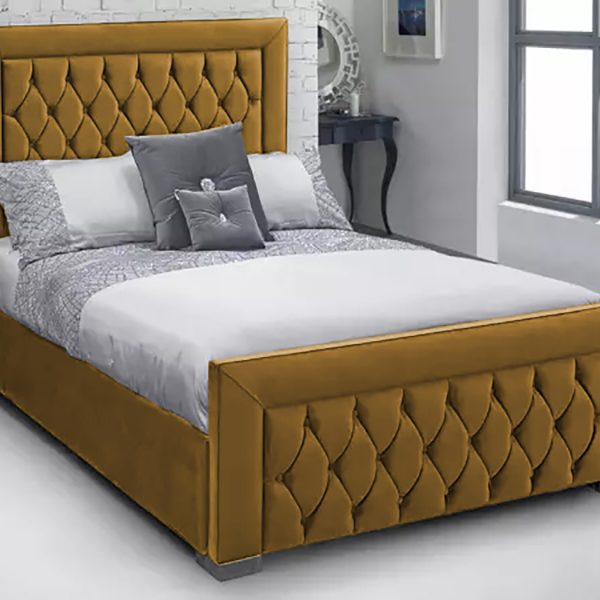 Lioti Bed Small Double Plush Velvet Mustard - Small Double