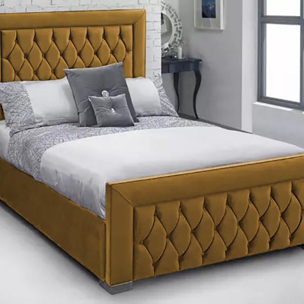 Lioti Bed King Plush Velvet Mustard - King Size