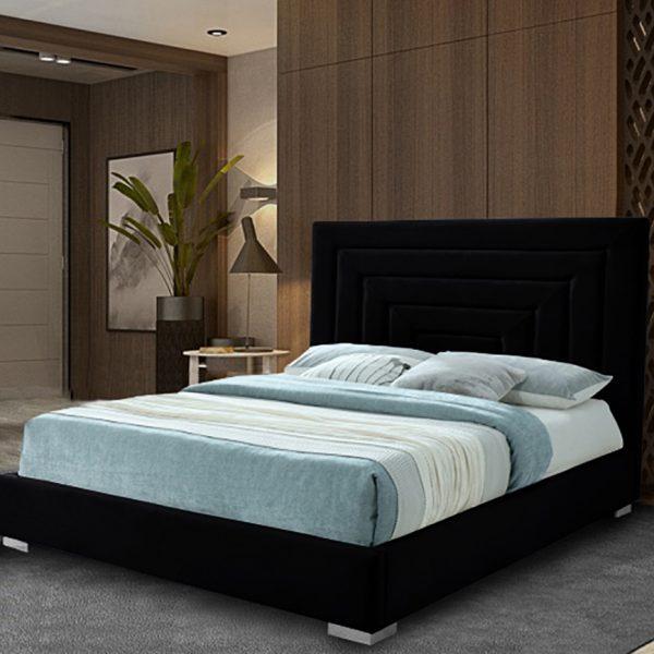 Lisso Bed Double Plush Velvet Black - Double