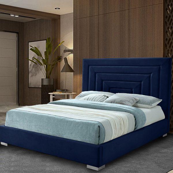 Lisso Bed Double Plush Velvet Blue - Double