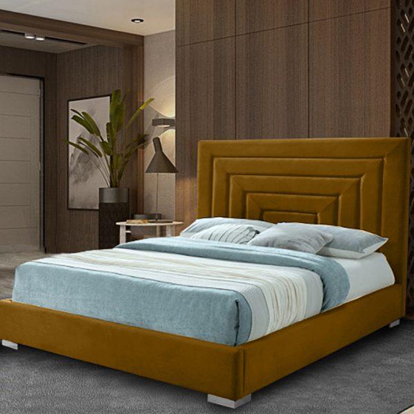 Lisso Bed King Plush Velvet Mustard - King Size
