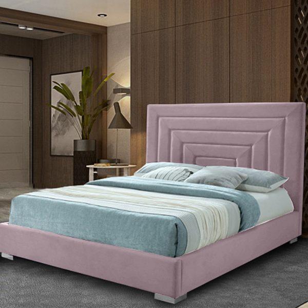 Lisso Bed Double Plush Velvet Pink - Double