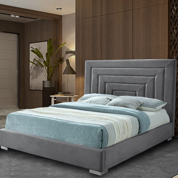 Lisso Bed King Plush Velvet Steel - King Size