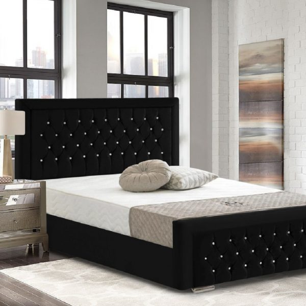 Litva Bed Double Crush Velvet Black - Double