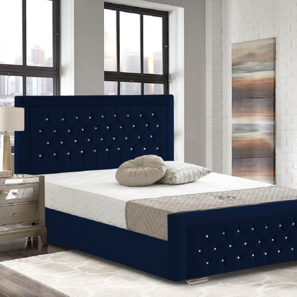 Litva Bed Small Double Crush Velvet Blue - Small Double
