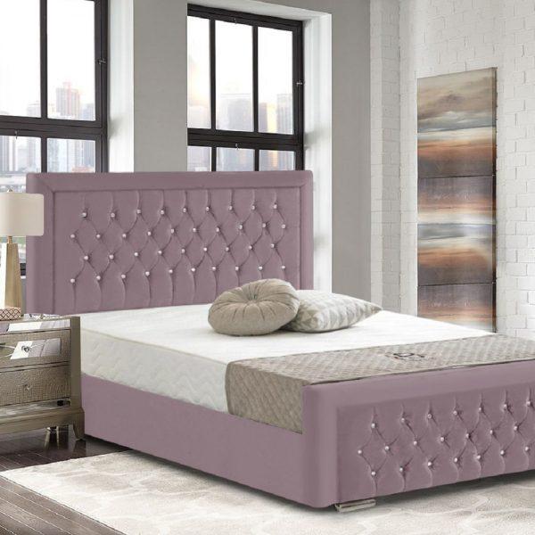 Litva Bed Double Crush Velvet Pink - Double