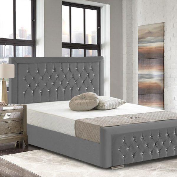 Litva Bed Double Crush Velvet Grey - Double