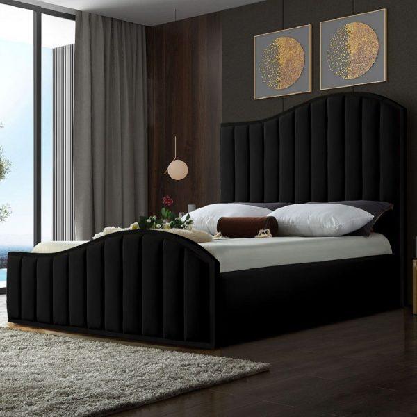 Magnifik Bed Double Plush Velvet Black - Double