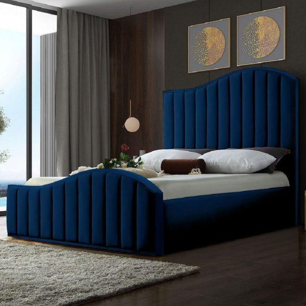 Magnifik Bed Small Double Plush Velvet Blue - Small Double