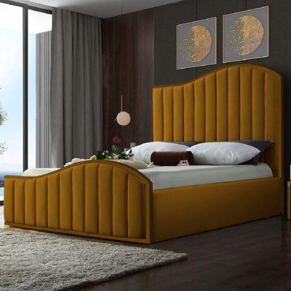 Magnifik Bed King Plush Velvet Mustard - King Size