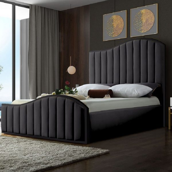 Magnifik Bed Small Double Plush Velvet Steel - Small Double
