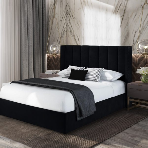 Marilynn Bed Super King Plush Velvet Black - Super King