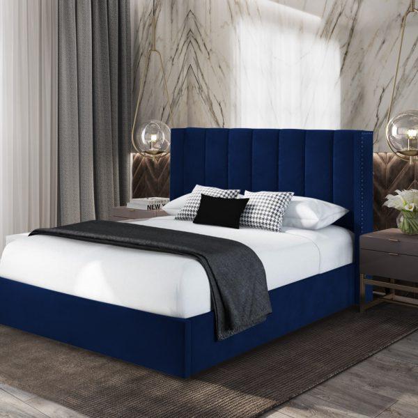 Marilynn Bed King Plush Velvet Blue - King Size