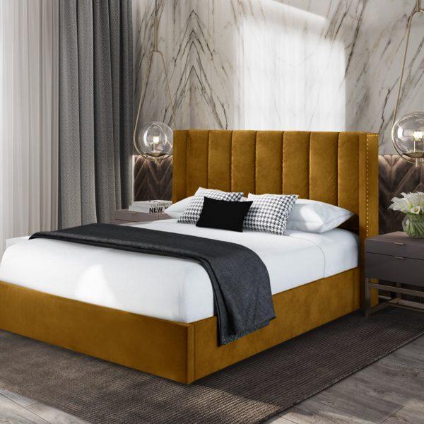Marilynn Bed King Plush Velvet Mustard - King Size
