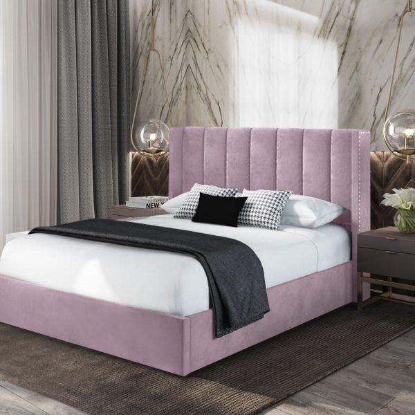 Marilynn Bed King Plush Velvet Pink - King Size