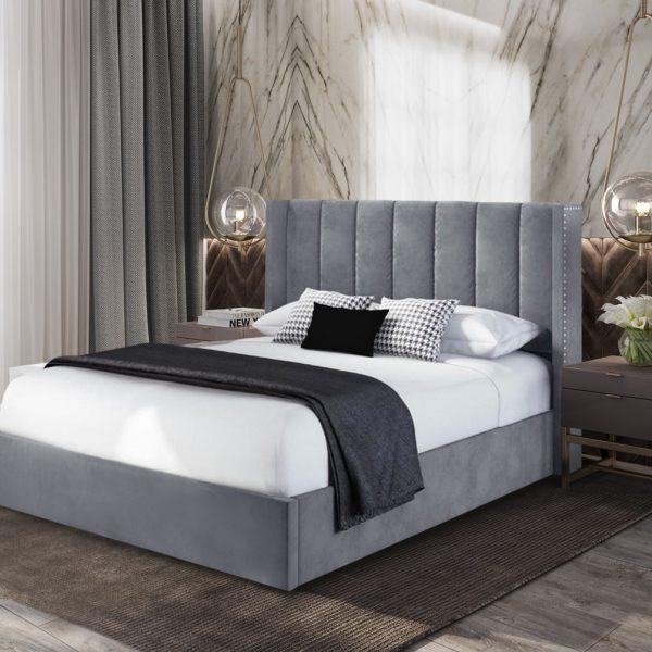 Marilynn Bed King Plush Velvet Steel - King Size