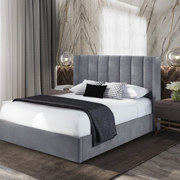 Marilynn Bed Single Plush Velvet Steel - Single
