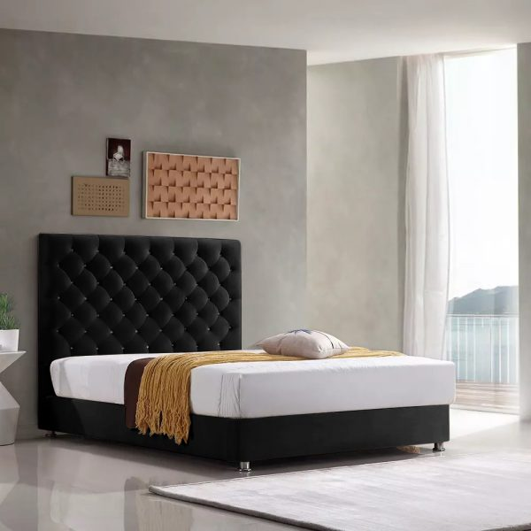 Marina Bed Small Double Plush Velvet Black - Small Double