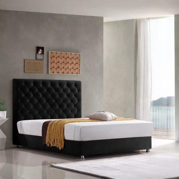 Marina Bed Double Plush Velvet Black - Double