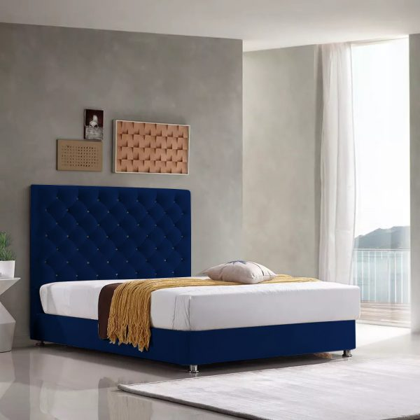 Marina Bed Single Plush Velvet Blue - Single