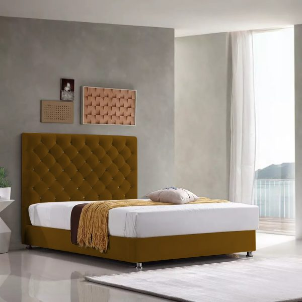 Marina Bed Single Plush Velvet Mustard - Single