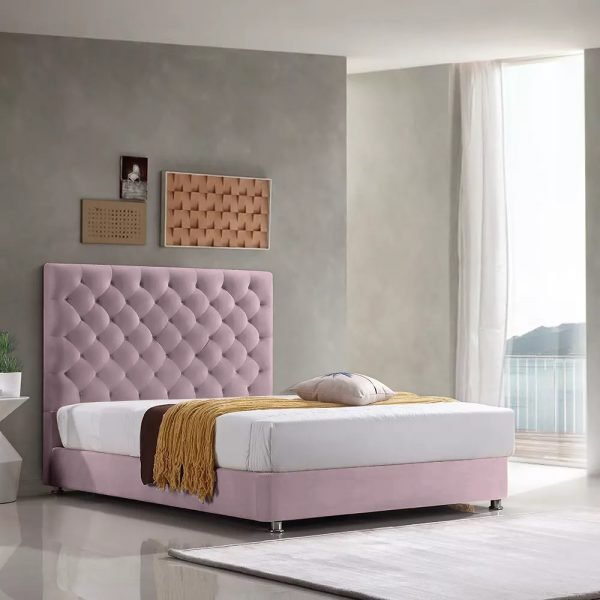 Marina Bed Small Double Plush Velvet Pink - Small Double