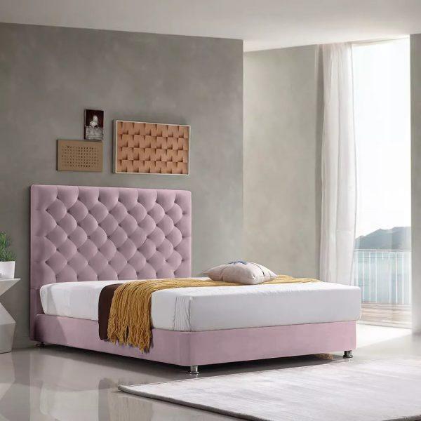 Marina Bed Single Plush Velvet Pink - Single