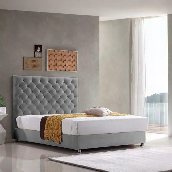 Marina Bed King Plush Velvet Grey - King Size