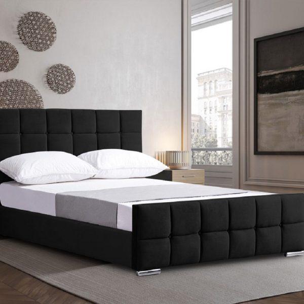 Minsa Bed King Plush Velvet Black - King Size