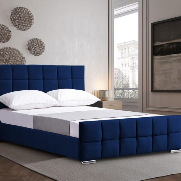 Minsa Bed Single Plush Velvet Blue - Single