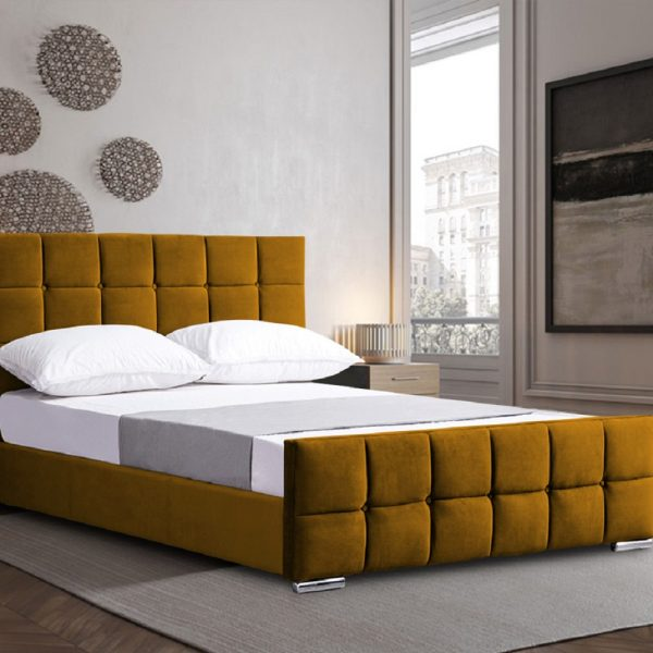 Minsa Bed King Plush Velvet Mustard - King Size