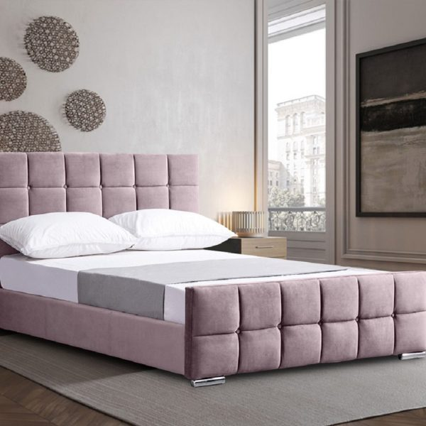 Minsa Bed Small Double Plush Velvet Pink - Small Double