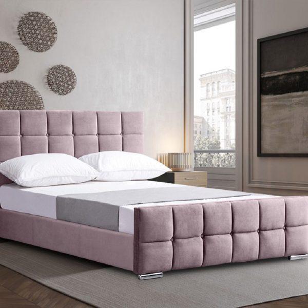 Minsa Bed King Plush Velvet Pink - King Size
