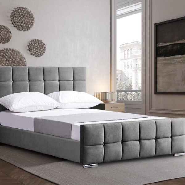 Minsa Bed Small Double Plush Velvet Grey - Small Double